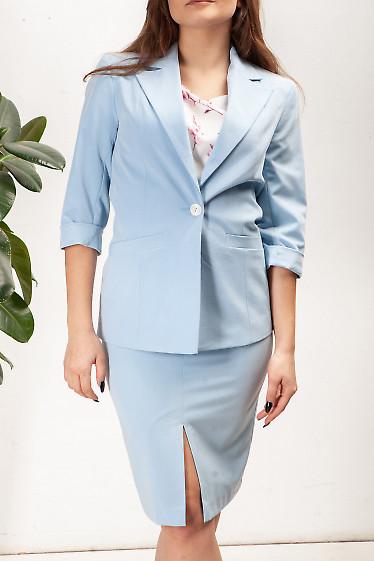 Купить голубой женский жакет. Деловая женская одежда фото