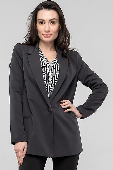Жакет удлиненный серый оверсайз. Деловая женская одежда
