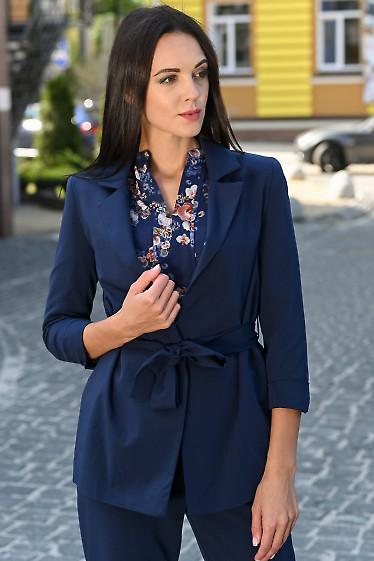 Жакет синий женский с поясом. Деловая женская одежда