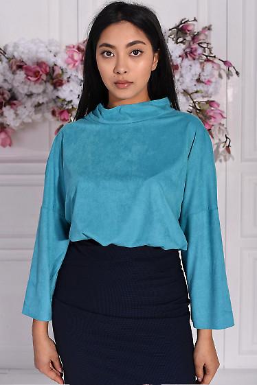Блуза бирюзовая с манжетами. Деловая женская одежда