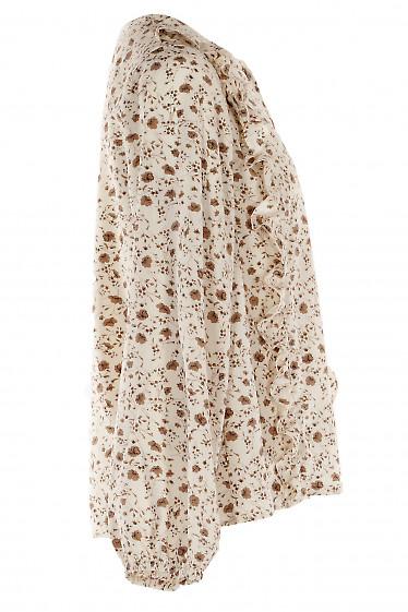 Блуза в цветы с широким рукавом