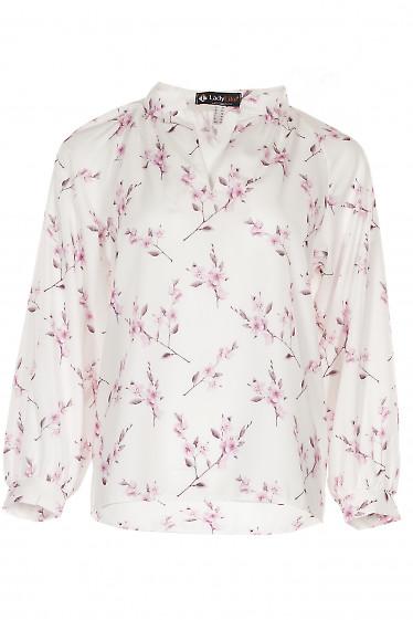 Блузка белая в розовые цветы Деловая женская одежда фото