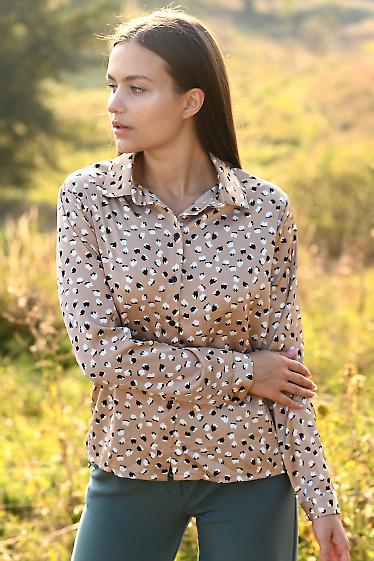 Купить блузку в бело-черный принт. Деловая женская одежда фото