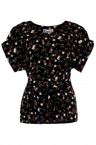 Купить черную блузку в рыжий цветок. Деловая женская одежда фото