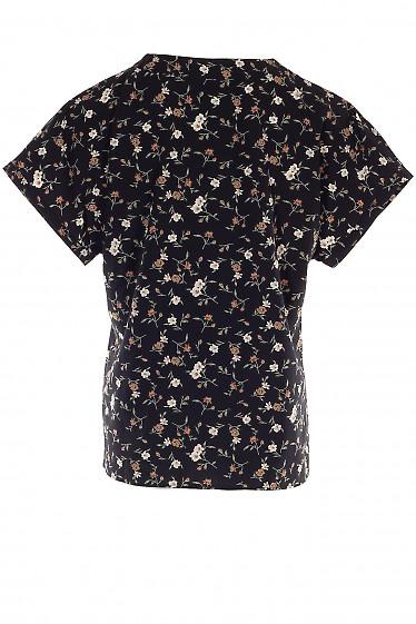 Купить черную блузку в цветы. Деловая женская одежда фото