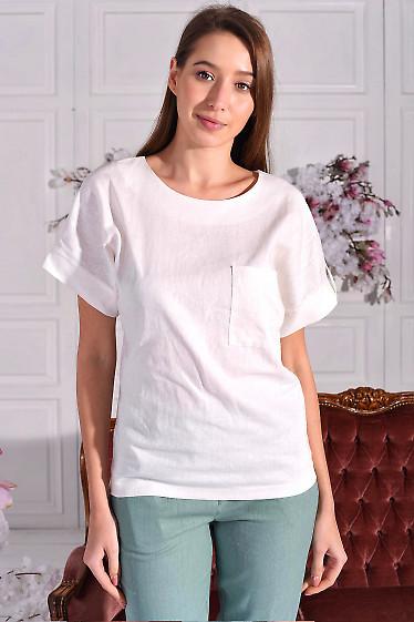 Блузка из белого льна. Деловая женская одежда фото