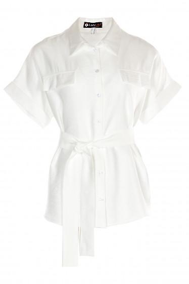 Блузка льняная белая Деловая женская одежда фото