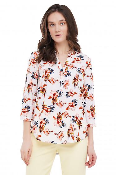 Блузка молочная в крупные цветы Деловая Женская Одежда фото