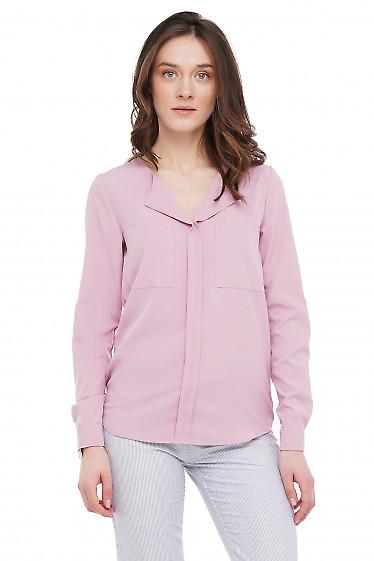 Блузка розовая из вискозы Деловая Женская Одежда фото