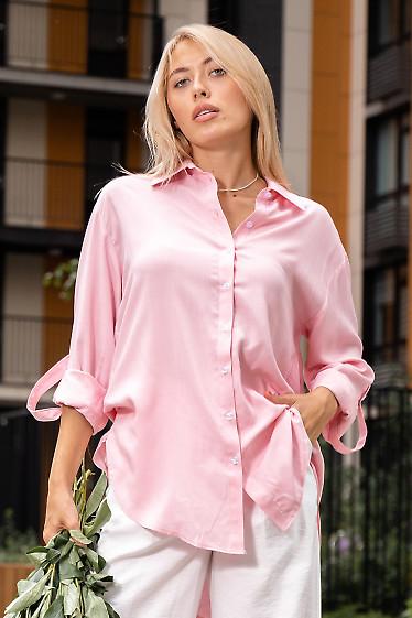 Блузка розовая оверсайз. Деловая женская одежда фото