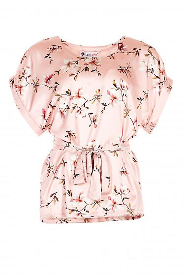 Блузка с поясом розовая в цветы. Деловая женская одежда фото