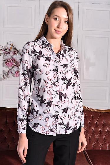 Блузка серая в тюльпаны. Деловая женская одежда