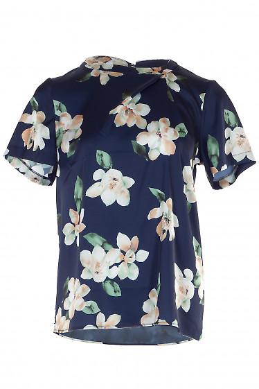 Блузка шелковая синяя в цветы. Деловая женская одежда фото