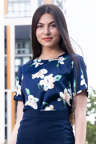 Купить синюю шелковую блузку в цветы. Женская одежда фото