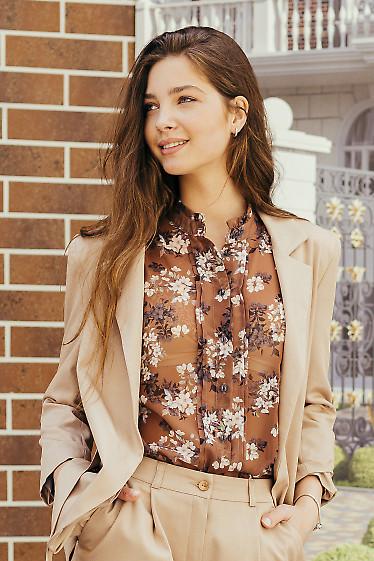 Шифоновая блузка коричневого цвета. Деловая женская одежда фото