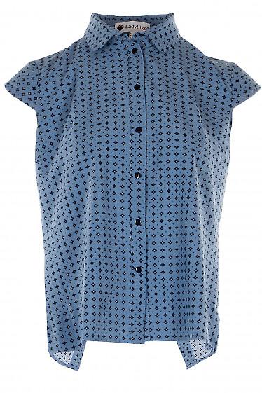 Блузка синяя на запах сзади. Деловая женская одежда
