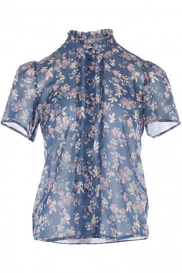 Блузка синяя шифоновая в цветы. Деловая женская одежда
