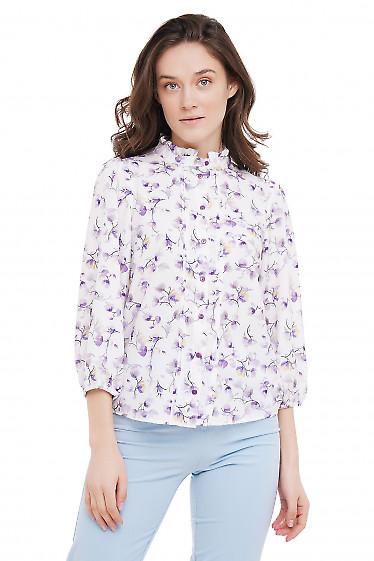 Блузка в цветочек с рюшечкой Деловая Женская Одежда фото