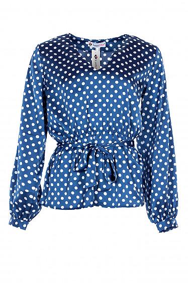 Блузка в горох шелковая с резинкой в поясе. Деловая женская одежда фото
