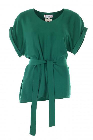 Блузка зеленая из льна. Деловая женская одежда фото