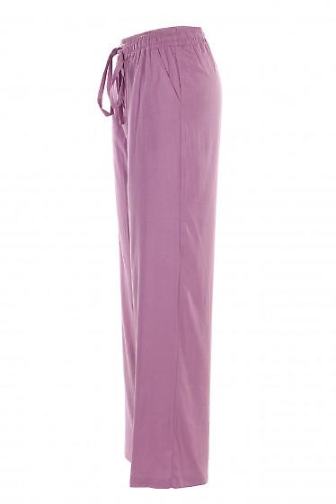 Купить брюки льняные сиреневые на резинке. Женская одежда фото