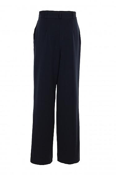 Купить утепленные синие брюки палаццо. Деловая женская одежда фото