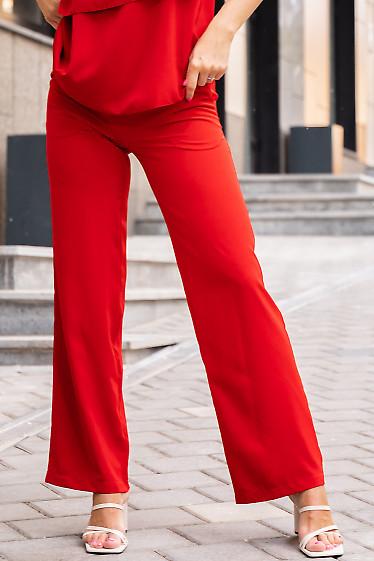 Купить красные штаны на резинке. Деловая женская одежда фото