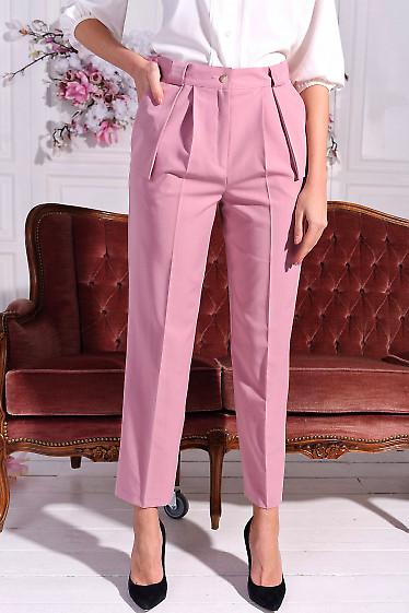 Брюки женские розовые с клапанам. Деловая женская одежда