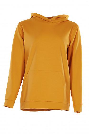 Худи горчичного цвета с капюшоном и карманом. Женская одежда фото