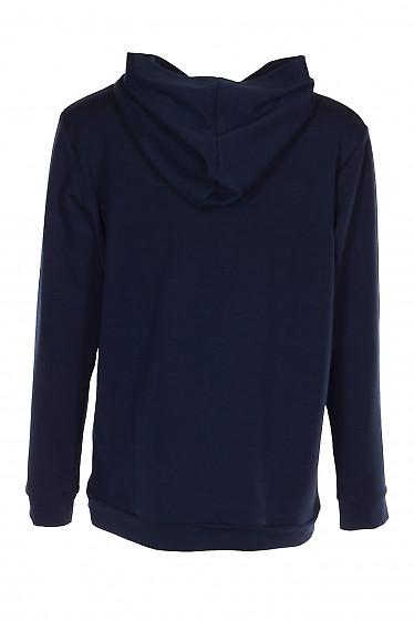 Купить худи темно-синее с карманом и капюшоном. Женская одежда фото