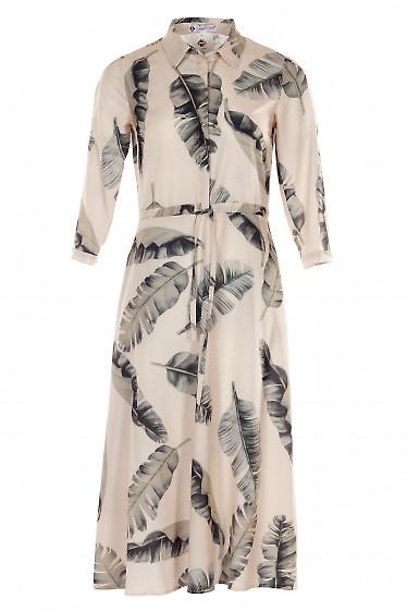 Платье бежевое в листья с кулисой. Деловая женская одежда фото