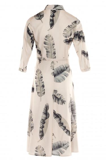 Купить платье бежевое в листья с кулисой. Деловая женская одежда фото