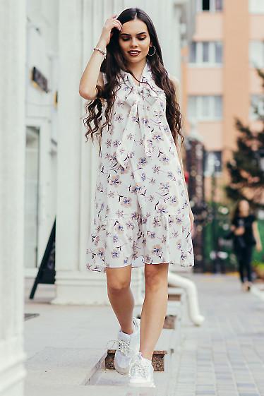 Купить белое платье в нежные цветы. Деловая женская одежда фото