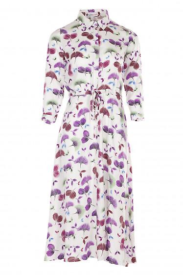 Платье белое в бордовые листики с кулисой. Деловая Женская Одежда фото