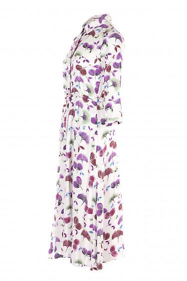 Купить платье миди белое с кулисой в поясе. Деловая Женская Одежда фото