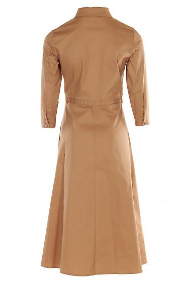 Купить платье бежевое с кулисой. Деловая женская одежда фото