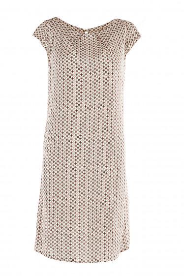 Платье бежевое в ромбики под пояс Деловая Женская Одежда фото