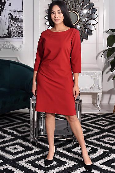 Платье бордовое с круглой горловиной. Деловая женская одежда