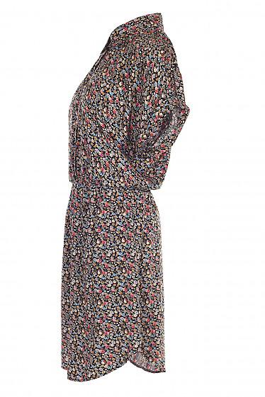 Платье черное в цветок на резинке. Женская одежда фото