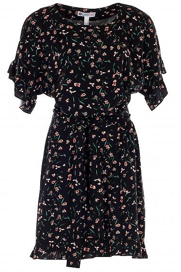 Платье черное штапельное в цветы. Деловая женская одежда