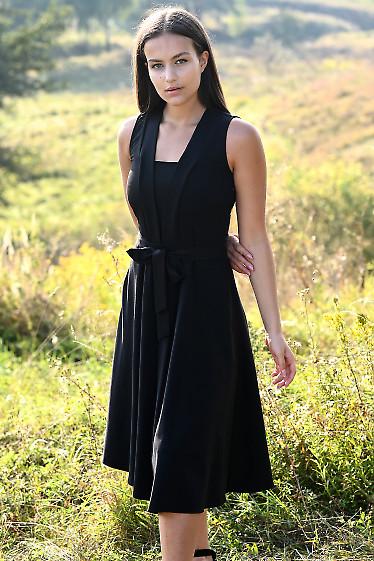 Купить черное платье без рукавов с поясом. Деловая женская одежда фото