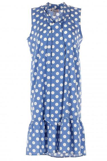 Платье голубое с бантом и воланом. Деловая женская одежда