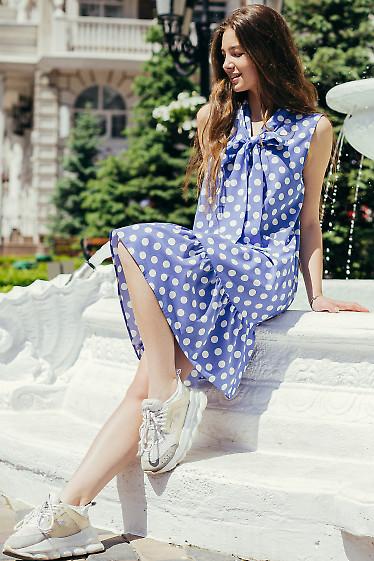 Купить голубой сарафан с горошек. Деловая женская одежда фото