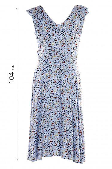 Платье летнее голубое с воланом. Деловая женская одежда фото