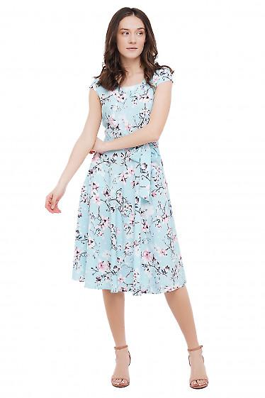 Платье голубое в цветы с коротким рукавом Деловая Женская Одежда фото