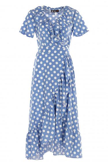 Платье голубое в горох с рюшей Деловая женская одежда фото