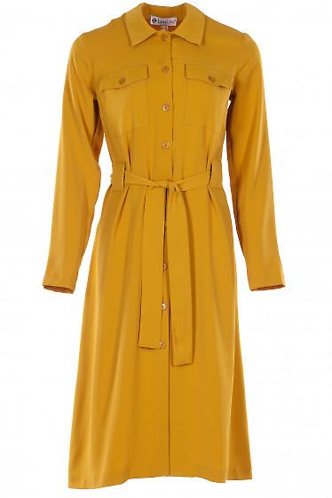 Платье горчичное на пуговицах. Деловая женская одежда