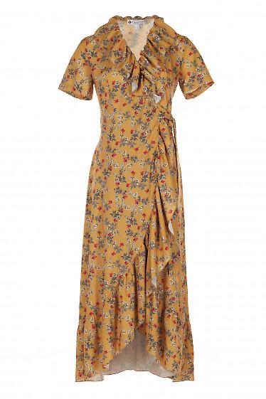 Платье горчичное с воланом. Женская Одежда фото