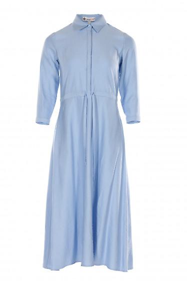 Платье миди голубое с кулисой. Деловая женская одежда фото