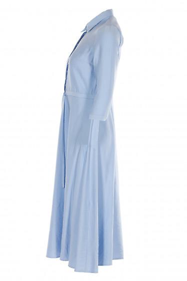 Купить платье голубое с кулисой. Деловая женская одежда фото